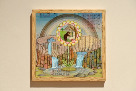 Tom Reed,  Stealing Pie, mixed media with collage on panel, 2011