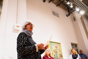 Sarah Birdsall, retired professor of SFS, gives remarks at the Robert C. Smith Retrospective Exhibit Opening, Des Lee Gallery, St. Louis, MO