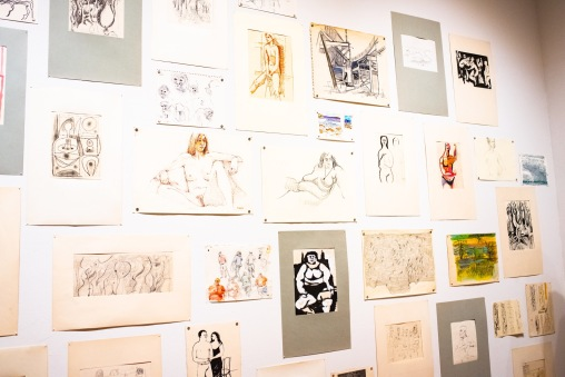 Drawings created by Robert C. Smith from the 1940s through 2010 at his Retrospective Exhibit Opening, Des Lee Gallery, St. Louis, MO