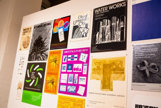 Posters and Printed pieces of Robert C. Smith's work at his Retrospective Exhibit Opening, Des Lee Gallery, St. Louis, MO