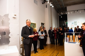 Jeff Pike, former Dean and Faculty member of the Sam Fox School, gives remarks at the Robert C. Smith Retrospective Exhibit Opening, Des Lee Gallery, St. Louis, MO
