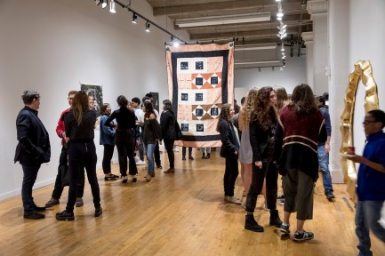 4.5.2019--People attend the Sam Fox School of Design & Visual Arts BFA Show at Des Lee Gallery in downtown St. Louis. Photo by Whitney Curtis/WUSTL Photos