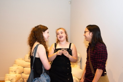 From left Addie Walker, Grace Zajdel and Derrek Wang at the BFA 2 Show, Des Lee Gallery, St. Louis, MO