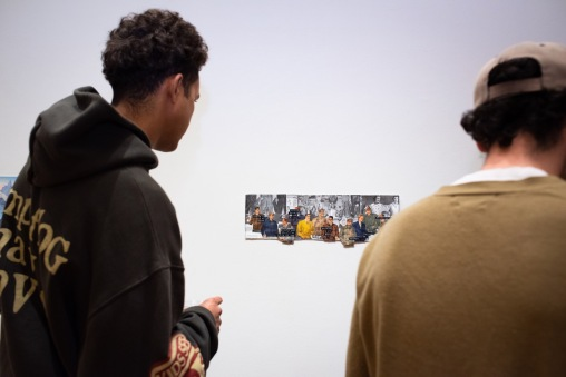"Azeez Abdikarim (left) looks at ""24 Inches of Man"" by Allison Hamburg, BFA Show 2, Des Lee Gallery, Washington University, St. Louis, MO"