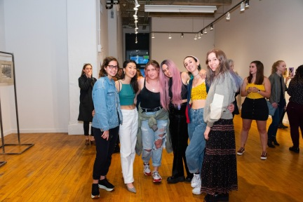 From left Samantha Posner, J'nhee Kim, Madison Kaplan, Katrina Wood, Sophia Goldman, and Katie MacPherson at the BFA Show 2, Des Lee Gallery, St. Louis, MO