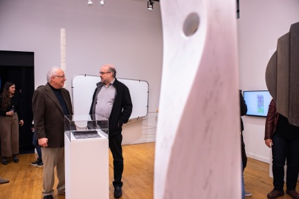 """Buzz Spector (l) talks with Prof. Eric Mumford at the Opening Reception of the """"Decoys and Depictions: Images of the Digital"""" Exhibition at the Des Lee Gallery, Washington University, St. Louis, MO"""