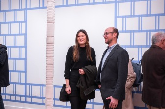 """Assistant Prof. Kelley VanDyck Murphy talks with Jonathan Murphy at the Opening Reception of the """"Decoys and Depictions: Images of the Digital"""" Exhibition at the Des Lee Gallery, Washington University, St. Louis, MO"""