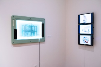 """""""Summer House. 2018-19 by Hans Tursack"""" (l) and """"Orbit, 2018 by Brennan Buck & David Freeland of FreelandBuck"""" at the """"Decoys and Depictions: Images of the Digital"""" Exhibition at the Des Lee Gallery, Washington University, St. Louis, MO"""